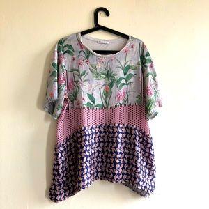 Zara Silk Floral Print Top